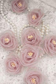 dust pink handmade flower handmade rosette applique organza