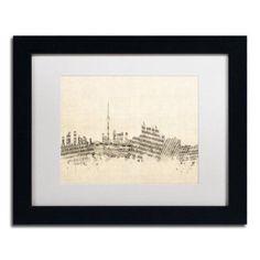 Trademark Fine Art Toronto Skyline Sheet Music Canvas Art by Michael Tompsett White Matte, Black Frame, Size: 11 x 14