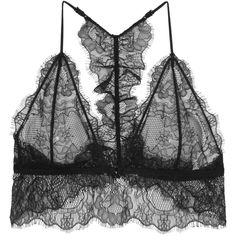Anine Bing Lace soft-cup bra (6,045 INR) ❤ liked on Polyvore featuring anine bing, tops and black