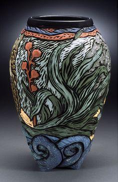 Deb Leair carved vase underwater