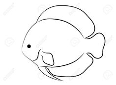 Rounded Tropical Fish Simple Outline Isolated on White Background Fish Outline, Outline Art, Outline Drawings, Line Art Flowers, Flower Art, Ocean Drawing, Fish Artwork, Line Art Design, Watercolor Fish