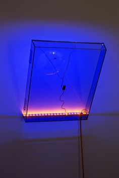 Haroon Mirza  LED Circuit Composition , 2015 Turntable dustcover, LEDs, wire, microphone cable