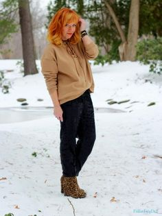 FASHION FAIRY DUST STYLE BLOG// Lace Up Sweatshirt, Sequin Joggers, Leopard Wedge Ankle Boots, Winter Outfit, Casual Outfit