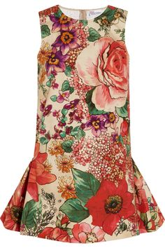 RED Valentino|Floral-print cotton mini dress|NET-A-PORTER.COM