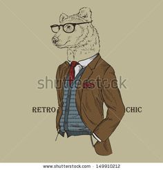 Fashion Illustration of Bear dressed in Vintage Style, Retro Chic, Vector Image by Olga_Angelloz, via ShutterStock