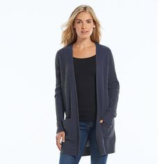 SONOMA life + style Ribbed Open-Front Cardigan - Women's