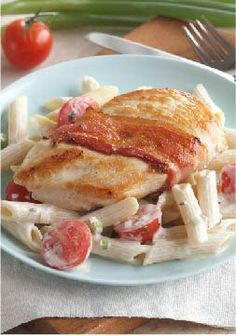 Creamy Chicken with Bacon & Penne – Wrap your chicken in bacon and pair with pasta in creamy white sauce.