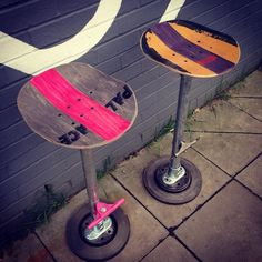 2 of skateboard bar stools Skateboard Decor, Skateboard Furniture, Skateboard Design, Recycled Furniture, Diy Furniture, Furniture Design, Plywood Furniture, Furniture Stores, Chair Design