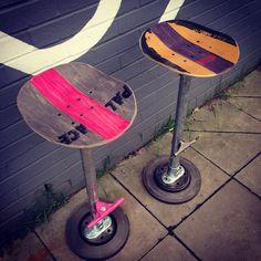 "24 Likes, 6 Comments - 9T9PERCENT (@9t9_percent) on Instagram: ""2 of skateboard bar stools #skatefurniture #barstool #palaceskateboards #9t9onfb"""