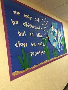 Rainbow Fish Bulletin Board, Fish Bulletin Boards, Summer Bulletin Boards, Teacher Bulletin Boards, Back To School Bulletin Boards, Preschool Bulletin Boards, March Bulletin Board Ideas, Bullentin Boards, Summer Bulliten Board Ideas