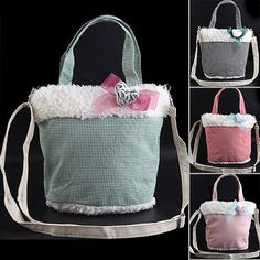 $8.99 - Multi-purpose Cloth Hand Bag Tote Bag Shoulder Bag Messenger Bag with Plush Heart Decor for Girls Women from UltraBarato Gadgets