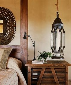 Modern global style. Beautiful bed and bedside table.
