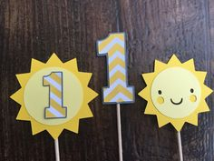 You Are My Sunshine Cupcake Toppers Happy by PaperMadeParty