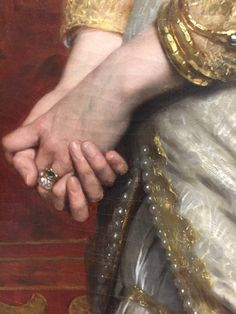 """Portrait of a Lady (Mme H.)"" by Pierre-Auguste Cot, detail of hands, oil on canvas painting, Classic Paintings, Beautiful Paintings, Figure Painting, Painting & Drawing, Classical Art, Art Graphique, Detail Art, Renaissance Art, Traditional Art"