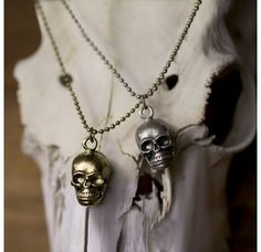 Skull Necklace - Skull Necklace on ball chain - long - available in Gold and Silver Colour Plating Skull Necklace, Pendant Necklace, Ball Chain, Silver Color, Plugs, Necklaces, Gold, Gifts, Stuff To Buy