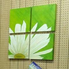 """4 Panel Daisy.  Oil on 4 - 12x12x1"""" panels"""