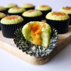 Soft pandan cupcakes with a lightly torched and molten salted egg yolk centre! Egg Cupcakes, No Egg Cookies, Egg Cake, No Egg Desserts, Asian Desserts, Dessert Recipes, Brownie Muffin Recipe, Donuts, Egg Yolk Recipes
