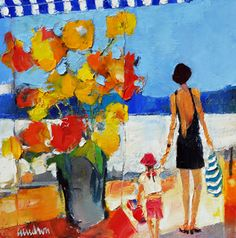 """SOLD. Off to Wisconsin. Bright orange complimented by shades of blue surround a mother and daughter while at the beach.  This original oil done by Dr Caudron is titled """"On the Beach."""" 16 x 16."""