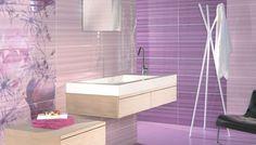 Resultado de imagen para baños morados con cenefas de flores negro con blanco