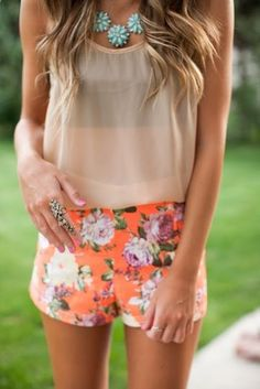 Summer outfit - floral shorts, chiffon top and necklace.