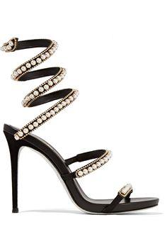 René Caovilla - Embellished suede and leather sandals ef1ef0d20c5