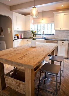 Kitchen Island Made from Recovered Wood