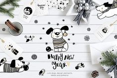 New year 2018 dogs by Magic & Dreams on @creativemarket
