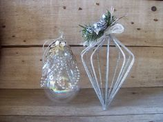 Silver Wire Glass Christmas Ornaments Glitter Gorgeous | eBay