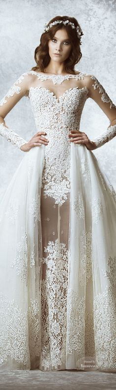 """Zuhair Murad Bridal Fall 2015 Wedding Dresses The Fall 2015 Zuhair Murad bridal collection took some of the most romantic elements from the Lebanese designer's ready-to-wear and haute couture lines,. 2015 Wedding Dresses, Bridal Dresses, Wedding Gowns, Bridesmaid Dresses, Trendy Wedding, Wedding Styles, Dream Wedding, Gothic Wedding, Glamorous Wedding"