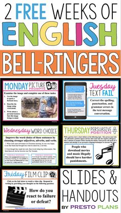 FREE ENGLISH BELL RINGERS – VOLUME 4 Begin each of your middle or high school English classes with these daily bell-ringer warm up routines for two weeks! Each day has a different engaging activity that your students will love. Ela Classroom, Middle School Classroom, English Classroom, Middle School Posters, Classroom Decor, Middle School Reading, Middle School English, Middle School Grammar, 7th Grade Ela