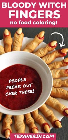 Witch Finger Cookies (without food coloring!) - Texanerin Baking Witch Finger Cookie Recipe, Halloween Finger Cookies, Witch Finger Cookies, Halloween Cookie Recipes, Halloween Desserts, Halloween Fingers Recipe, Party Desserts, Dessert Recipes, Halloween Party Appetizers