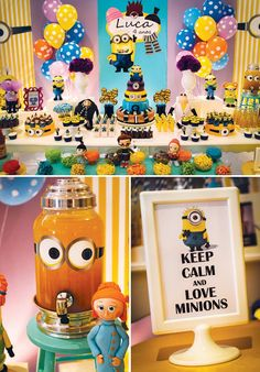 A Minion Birthday Party with Minion cake pops, cupcakes & cookies, Gru's office, amazing tiered Minion birthday cake + yellow drinks with Minion eyes