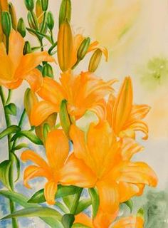 Step 4 of orange lilies watercolor painting demonstration by Lisa Hill