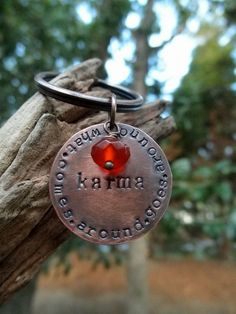 Key Chain Key Ring Karma with Gemstone Bead Custom by hoptimystic, $13.00