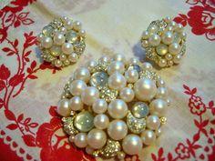 Vintage Robert Mandle Rhinestone Pearl Moonstone Brooch and Earrings Set by BlackRain4, $64.99