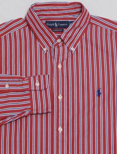 MINT-Mens-RALPH-LAUREN-Long-Sleeve-Shirt-LARGE-Red-Striped-CLASSIC-FIT-Polo