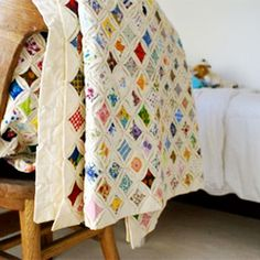 I have one of these cathedral window quilts half finished.  Should bring it out and finish.