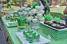 A green dessert table