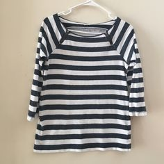 J Crew Top Stripes in black and white. Zippers on each side at the shoulders snd 3/4 sleeves. Super cute, nice quality and excellent condition J. Crew Tops Tees - Long Sleeve