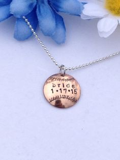 Personalized Baseball Charm Necklace in Copper Brass or Silver Nickel for Wife Girlfriend Friend Bride Bridesmaids Fan Wedding Party on Etsy, $16.45