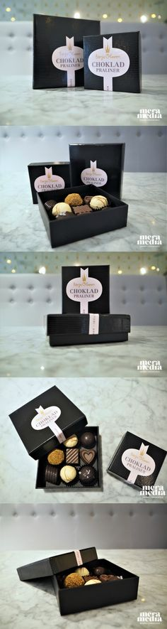 Designed label and branded packaging for luxury chocolate pralines. Elegant pink and black boxes that scream luxury and grace.