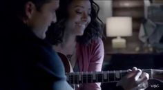 Enzo teaching Bonnie how to play guitar { #TVD #thevampirediaries #enzostjohn #bonniebennett #katgraham #michaelmalarkey #love #otp #ship #bonenzo }