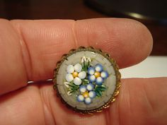 Antique Brass Italian Mosaic Glass Floral Motif Button | eBay