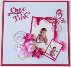 Once upon a time - Scrapjazz.com - hot pink and white, so elegant.