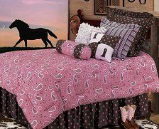 Pink Paisley Bedding Collection - Dress up your little cowgirl's bedroom with out beautiful Pink Paisley Bedding Collection. This ensemble is full of fun and style, perfect for any girl's bedroom. The Pink Paisley Bedding Collection features a bold
