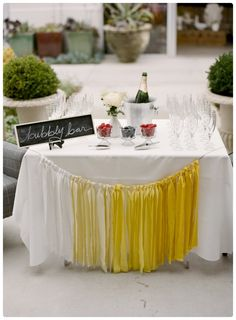 A good ole fashioned bubbly bar. Ombre decoration garland in Yellow ribbons Bubbly Bar, Champagne Bar, Wedding Website Design, Wedding Designs, Shower Party, Bridal Shower, Wedding Showers, Chic Wedding, Wedding Day