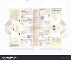 #3d #interior #rendering of #furnished #roofless #home #apartment with #furnishings: room, bedroom, kitchen, living, bathroom