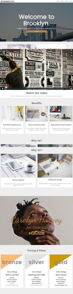 Brooklyn - Responsive business theme. Bootstrap Themes. $12.00