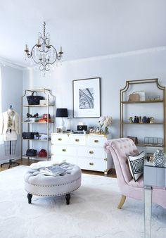 Fashion forward closet with some Parisian flair: http://www.stylemepretty.com/living/2016/11/28/this-is-what-closet-dreams-are-made-of/ Photography: Jessica Alexander - http://jessicaalexanderphotography.com/