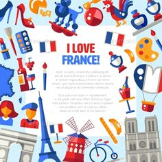 France Travel Icons Circle Postcard by decorwm I Love France Vector flat design France travel circle postcard with icons and infographics elements, with landmarks and famous Fr